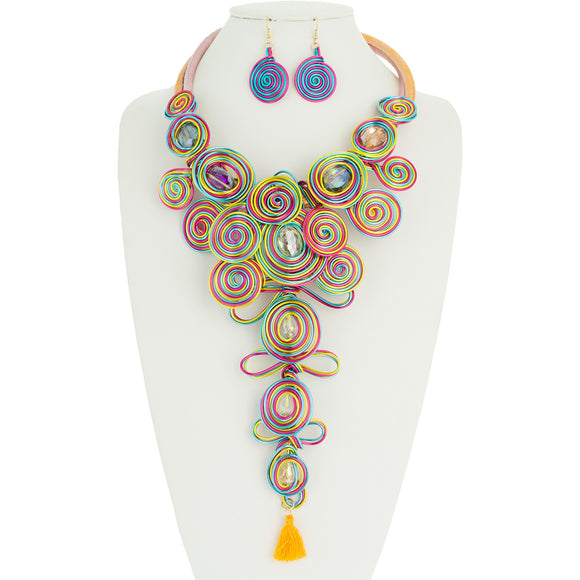 LONG MULTI COLOR WIRE SWIRL NECKLACE SET ( 10845 )