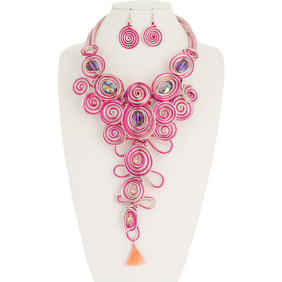 LONG PINK WIRE SWIRL NECKLACE SET ( 10845 )