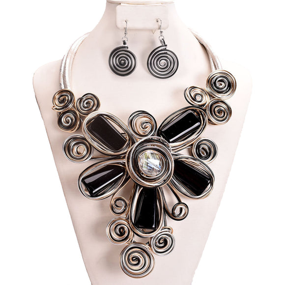 SILVER BLACK WIRE SWIRL NECKLACE SET ( 10895 )