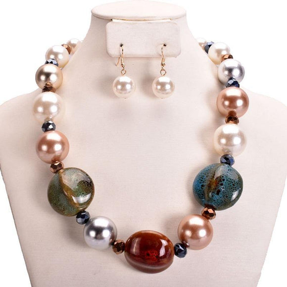 MULTI COLOR PEARL STONE NECKLACE SET ( 10999 MU )