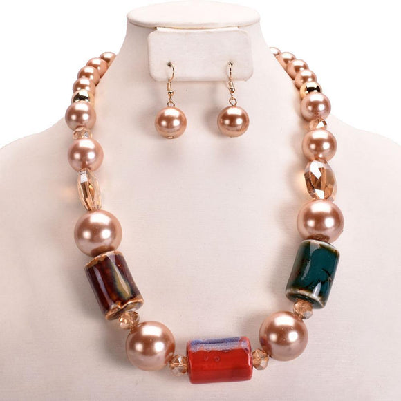 BROWN PEARL MULTI COLOR STONE NECKLACE SET ( 11002 )