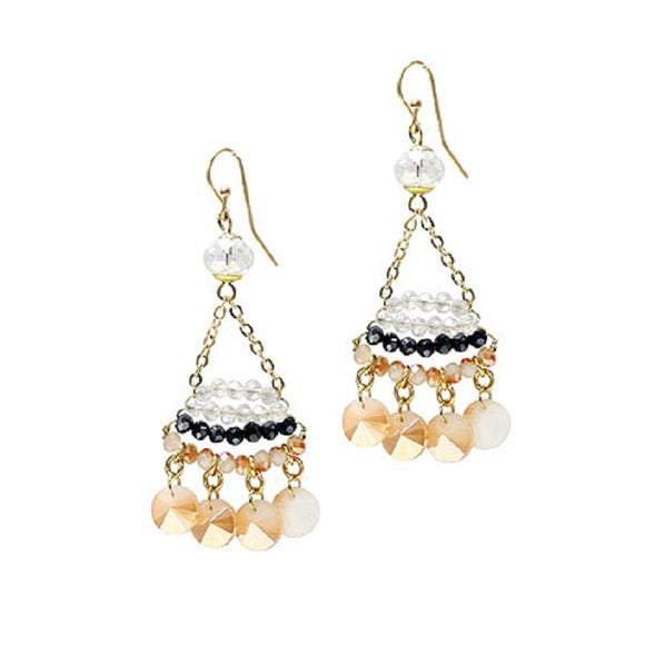 Nude Multi Color and Gold Accent Dangle Earrings ( 4003 )