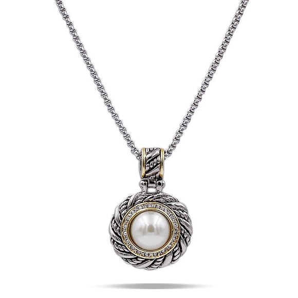 SILVER GOLD NECKLACE CLEAR CUBIC ZIRCONIA CREAM PEARL ( 4006 2T )