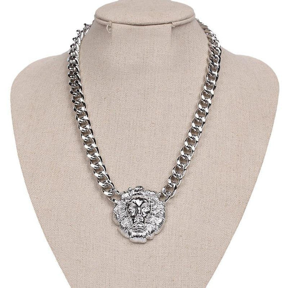 SILVER LION HEAD NECKLACE ( 165 R )
