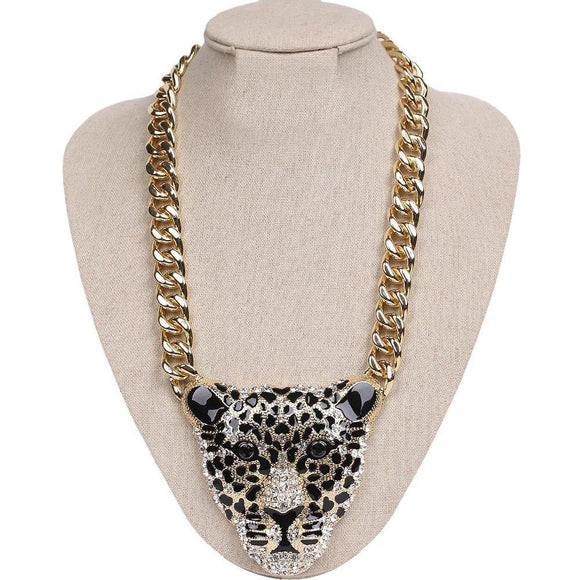 GOLD LEOPARD HEAD NECKLACE CLEAR STONES ( 298 G )