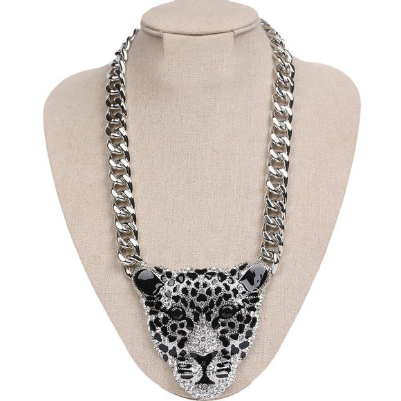 SILVER LEOPARD HEAD NECKLACE CLEAR STONES ( 298 R )