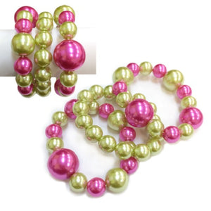 3 Layer Pink and Green Stretch Pearl Bracelets