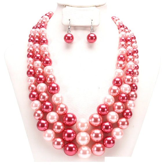 3 LAYER PINK MULTI COLOR PEARL NECKLACE SET ( 036 )