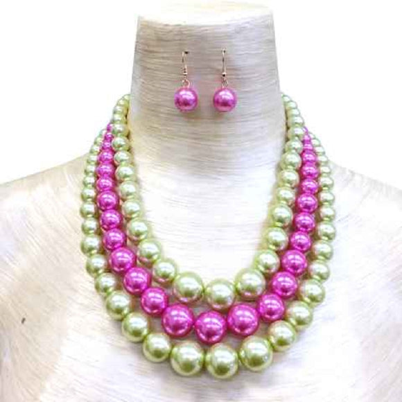 PINK AND GREEN PEARL NECKLACE WITH EARRINGS ( 036 )