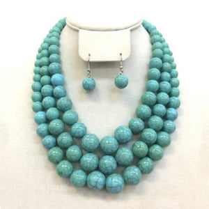 3 Layer Turquoise Howlite Beaded Necklace with Earrings