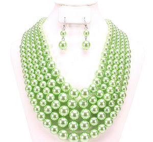 Lime Green 5 Layer Pearl Beaded Necklace ( 043 LM )