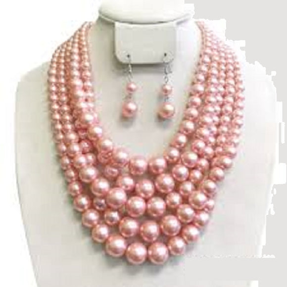 Pink 5 Layer Pearl Beaded Necklace