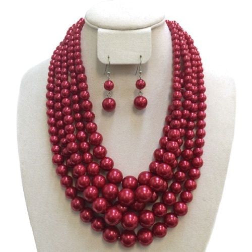 5 Layered Pearl Necklace with Dangling Earrings