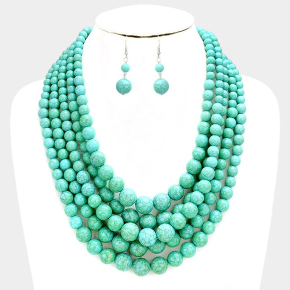 Turquoise 5 Layer Howlite Beaded Necklace Set ( 043 )