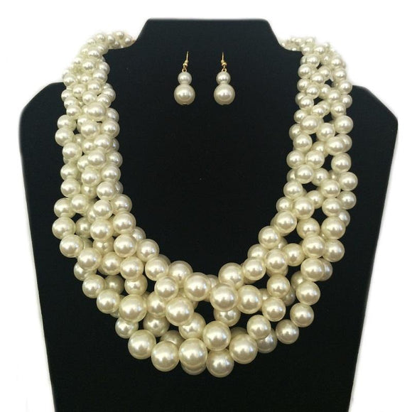 GOLD NECKLACE SET CREAM PEARLS ( 062 GCR )