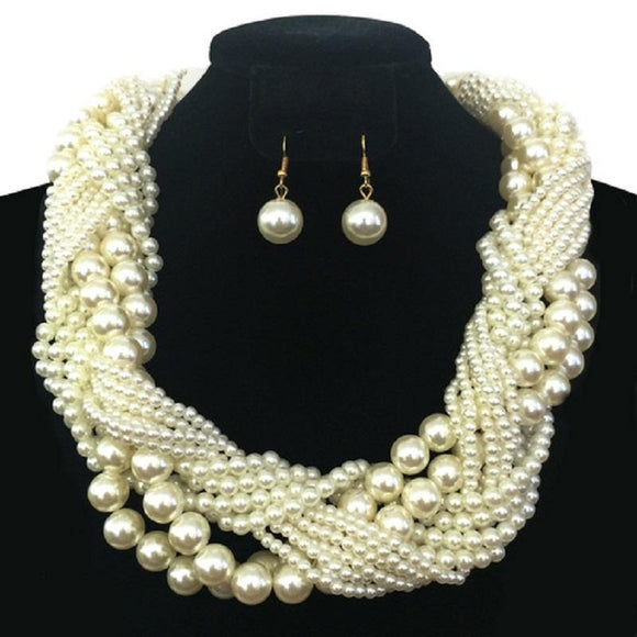 GOLD CREAM PEARL NECKLACE SET ( 064 GCR )