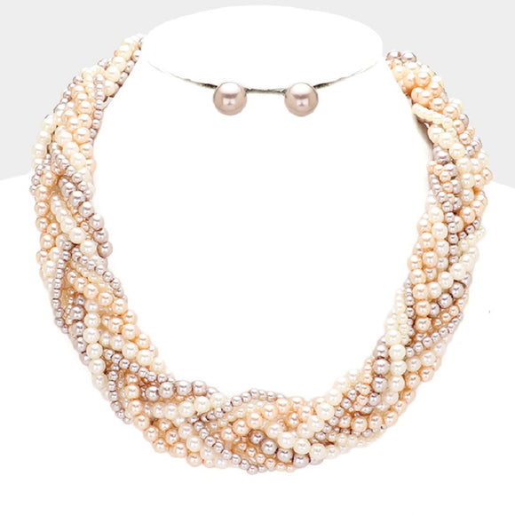 Brown Mix Pearl Braided Necklace with Matching Stud Earrings ( 078 )