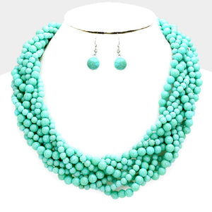 Turquoise Howlite Beaded Braided Necklace with Matching Stud Earrings ( 078 )