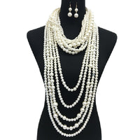 Cream Twisted Pearl and Chunky Layered Statement Necklace