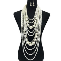 Small and Chunky Cream Pearl Layered Necklace Set