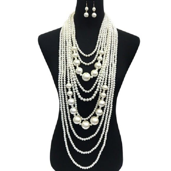 Small and Chunky Cream Pearl Layered Necklace Set ( 086 )