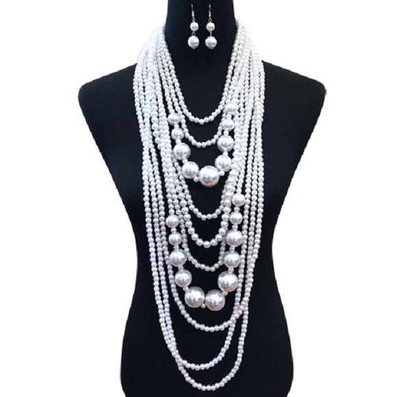 Small and Chunky White Pearl Layered Necklace Set ( 086 )