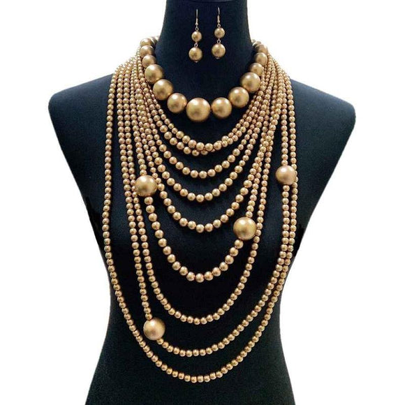 Bronzy Gold Multi Layer Chunky Long Pearl Beaded Necklace with Earrings ( 087 )