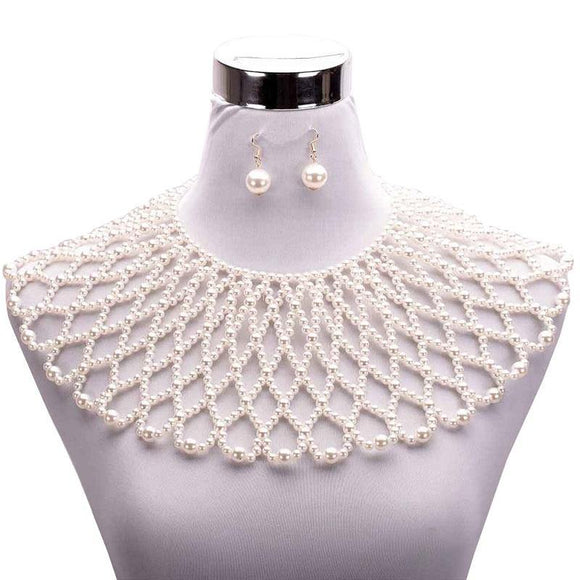 GOLD CREAM PEARL BIB NECKLACE SET ( 10375 GCR )