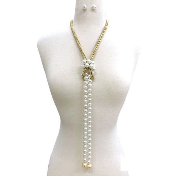 GOLD CREAM ROPE AND PEARL NECKLACE SET ( 118 )