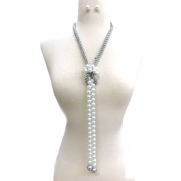 SILVER WHITE ROPE AND PEARL NECKLACE SET ( 118 )