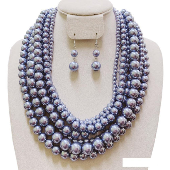 7 LAYER PERIWINKLE PEARL NECKLACE SET ( 120 )