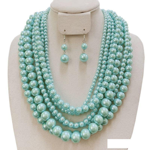 7 LAYER MINT PEARL NECKLACE SET ( 120 MN )