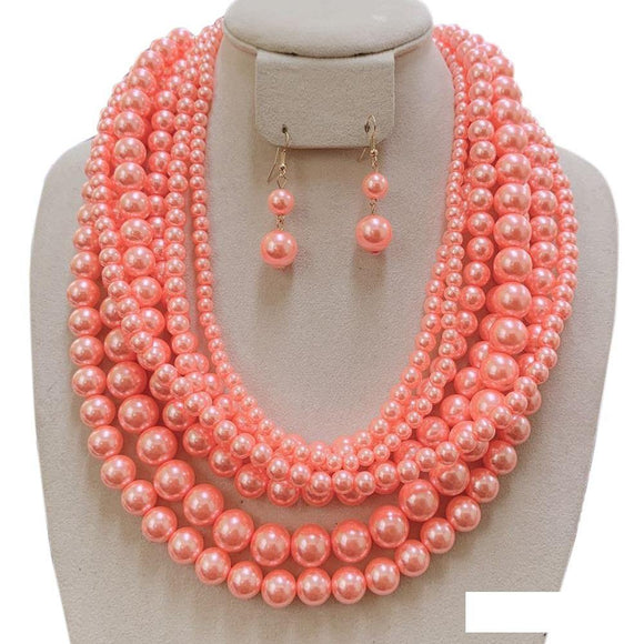 7 LAYER PEACH PEARL NECKLACE SET ( 120 )