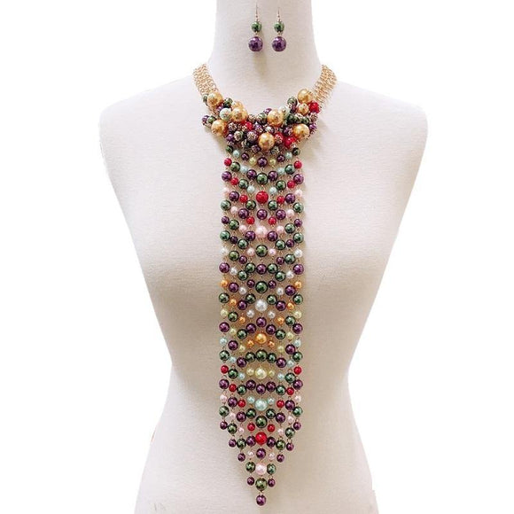 GOLD NECKTIE DESIGN NECKLACE SET MULTI COLOR PEARLS ( 127 MIX )