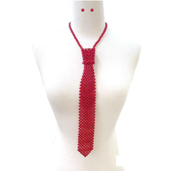 RED Pearl Tie Necklace with Matching Stud Earrings ( 131 RD )