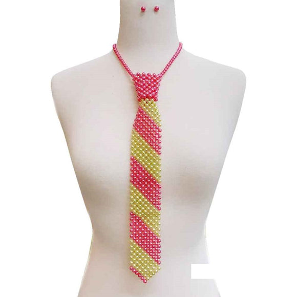 PINK AND GREEN Pearl Tie Necklace with Matching Stud Earrings ( 132 )