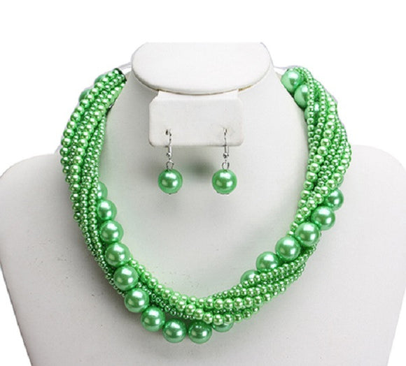 Lime Green Twisted Colorful Pearl Necklace with Earrings ( 6549 )