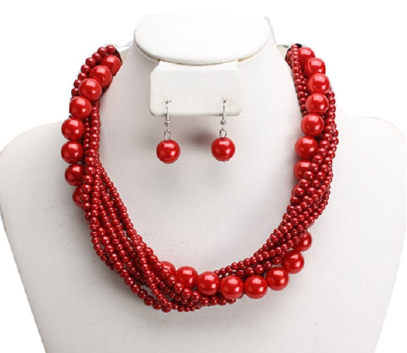 Red Twisted Colorful Pearl Necklace with Earrings ( 6549 )