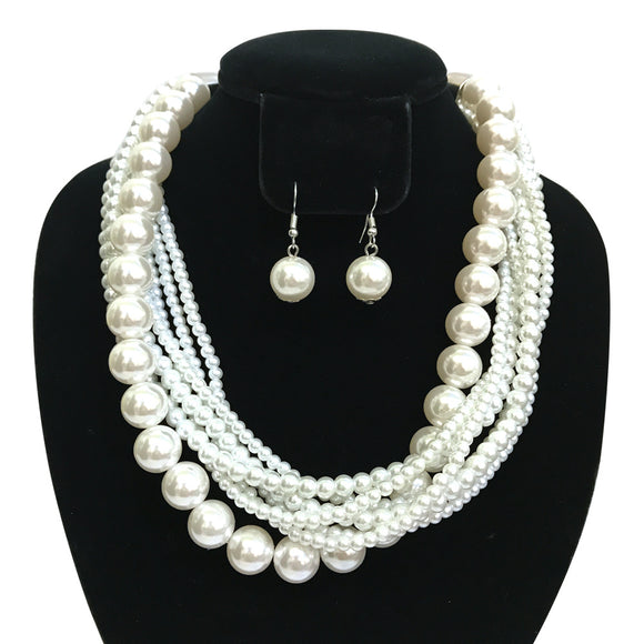 WHITE TWISTED PEARL NECKLACE SET ( 6549 )
