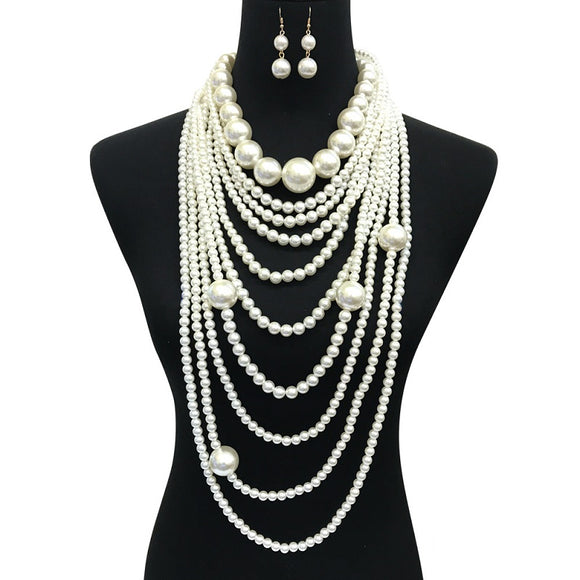 Cream Multi Layer Chunky Long Pearl Beaded Necklace with Earrings ( 087 )