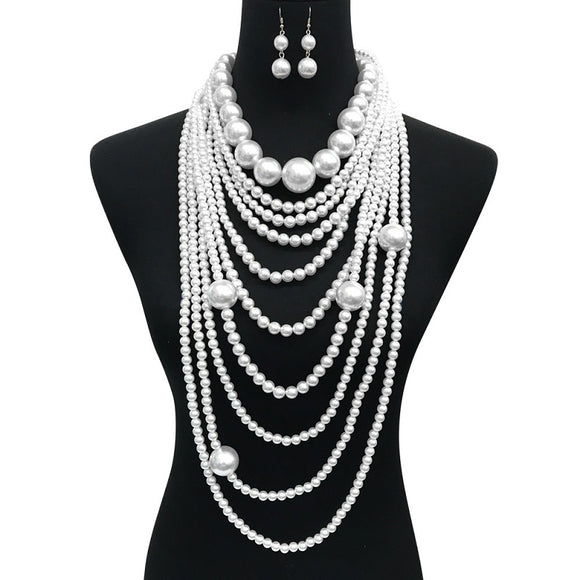 White Multi Layer Chunky Long Pearl Beaded Necklace with Earrings ( 087 )