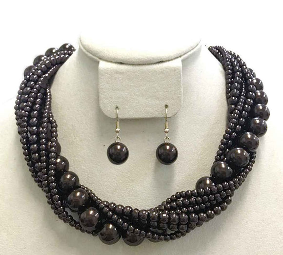 Dark Brown Twisted Colorful Pearl Necklace with Earrings ( 6549 )