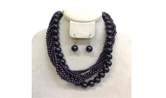 Purple Twisted Colorful Pearl Necklace with Earrings ( 6549 )