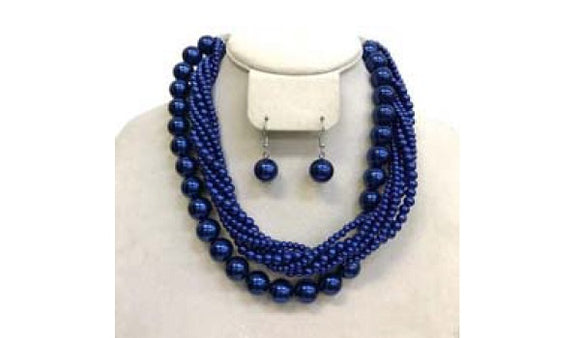 Royal Blue Twisted Colorful Pearl Necklace with Earrings ( 6549 )
