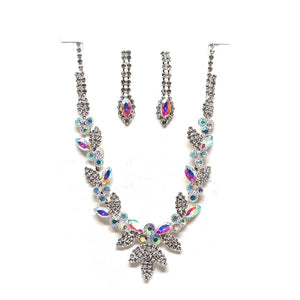 Silver Setting and Clear and AB Rhinestone Necklace Set ( 20223 )