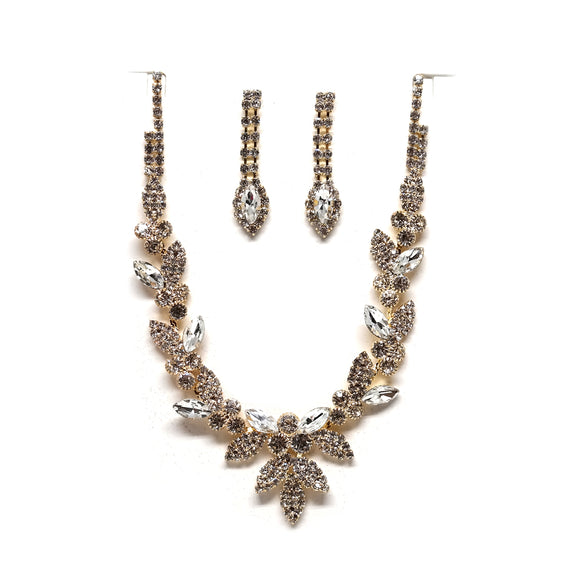 Gold Setting and Clear Rhinestone Necklace Set ( 20223 )
