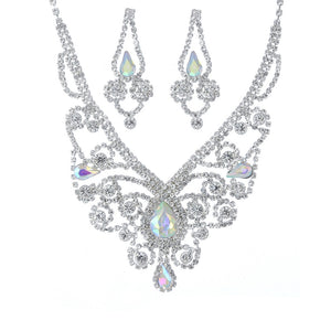 Silver Clear and AB Swirly Rhinestone Necklace Set ( 20270 )