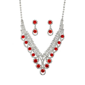 Silver Clear and Red Swirly Rhinestone Necklace Set ( 20351 )