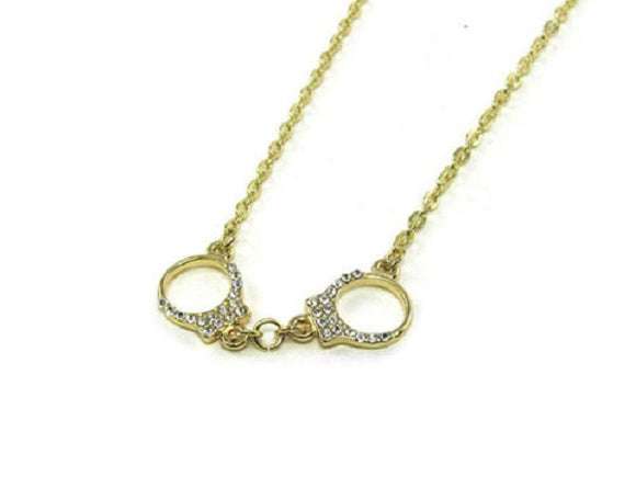 Gold Clear Rhinestone Handcuff Charm Necklace ( 728 )