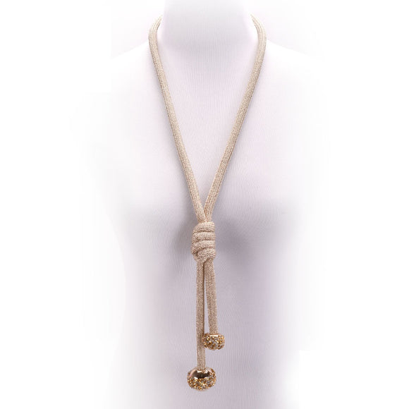 LONG GOLD NECKLACE BALL CLEAR STONES ( 10649 )